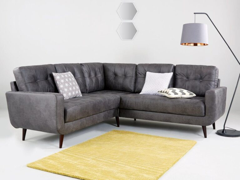 Skandi grey leather corner sofa