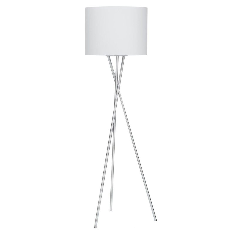 Tripos lamp with polished metal stand