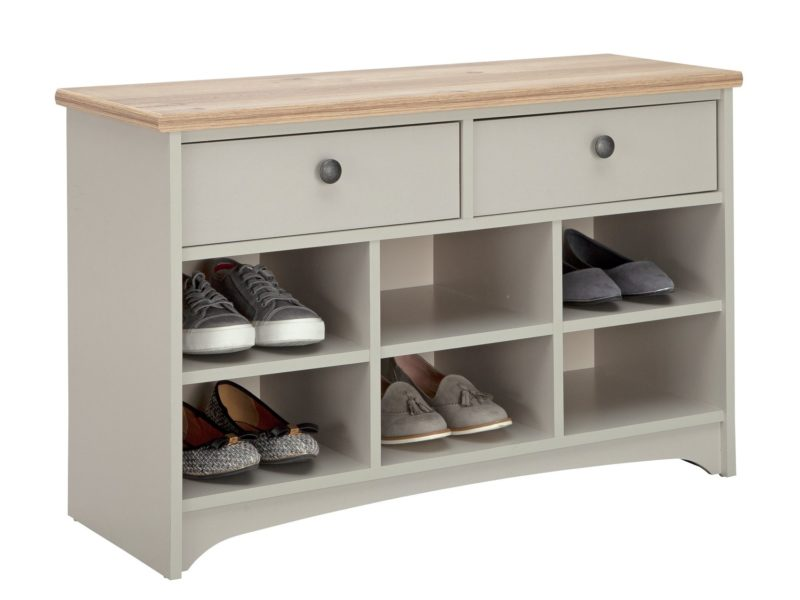 Painted shoe bench with drawers