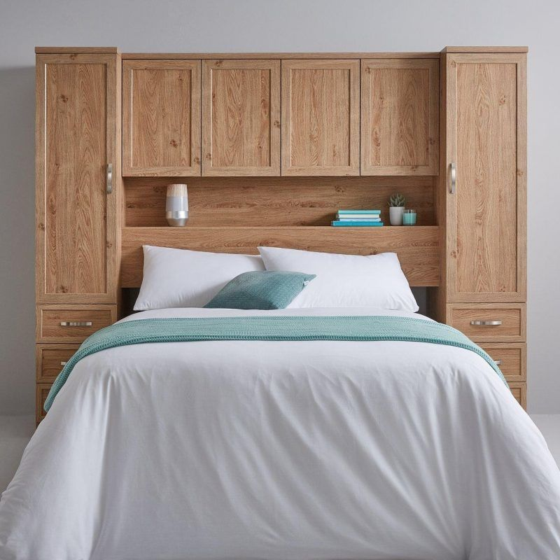 Light oak over the bed storage units