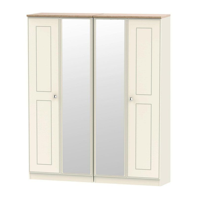 Cream and oak wardrobe with 4 doors and 2 mirrors