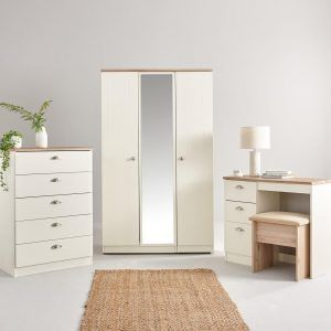 Cream and oak bedroom furniture