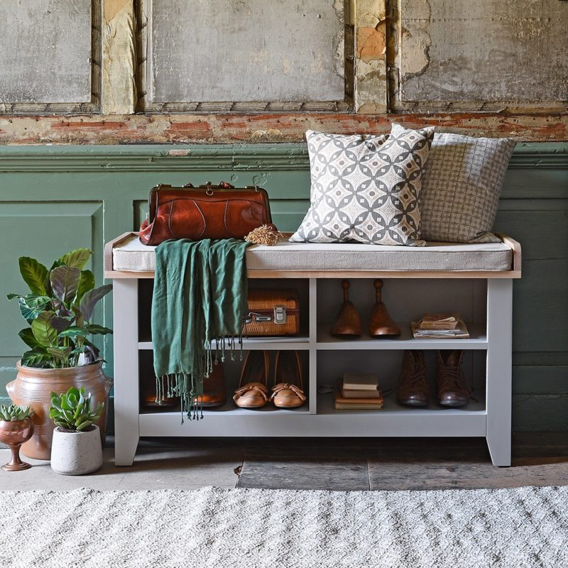 Grey-painted shoe bench with cushion