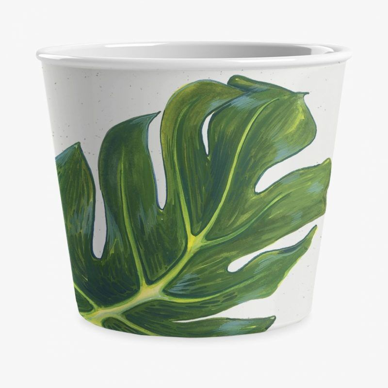 Leaf print ice cream bowl