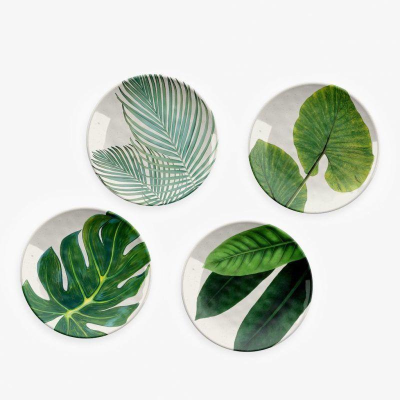 Leaf print plates
