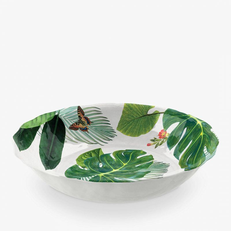 Leaf print serving bowl