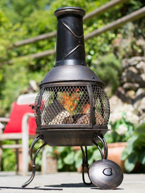 Bronze finish chimenea with mesh sides