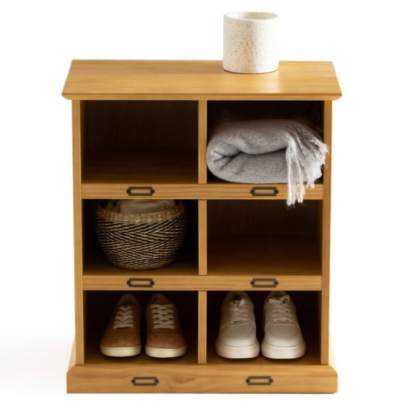 Pine shoe cabinet with 6 cubbies