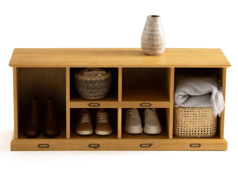 Wide shoe bench with spaces for boots and storage