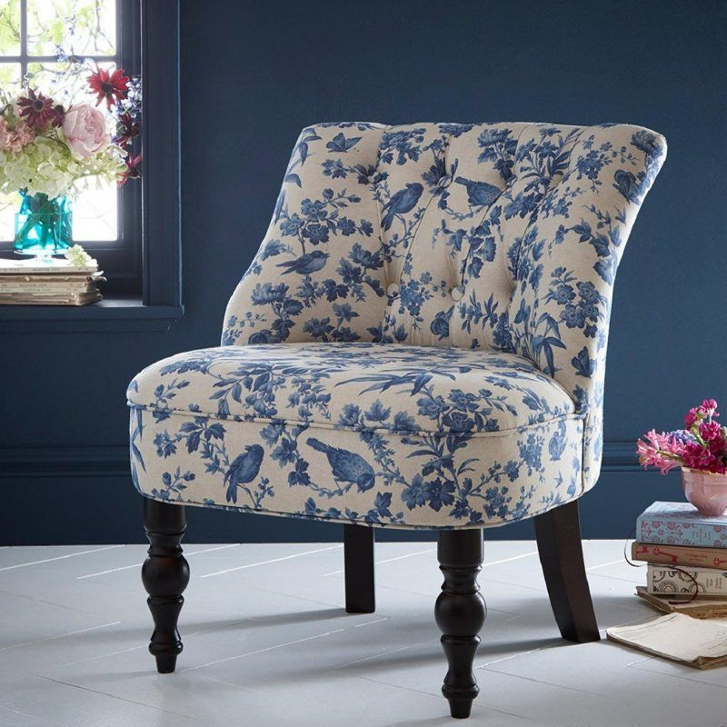 Blue print upholstered chair