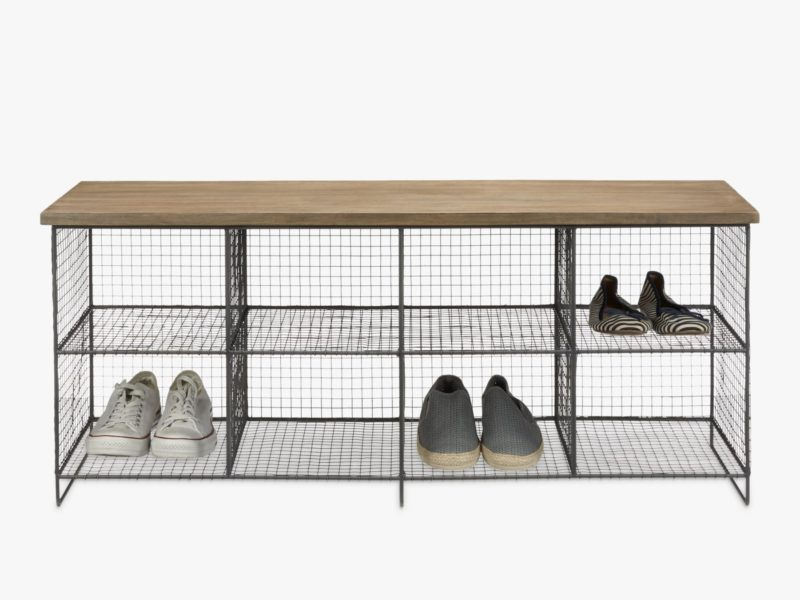 Wire frame shoe bench with wooden top