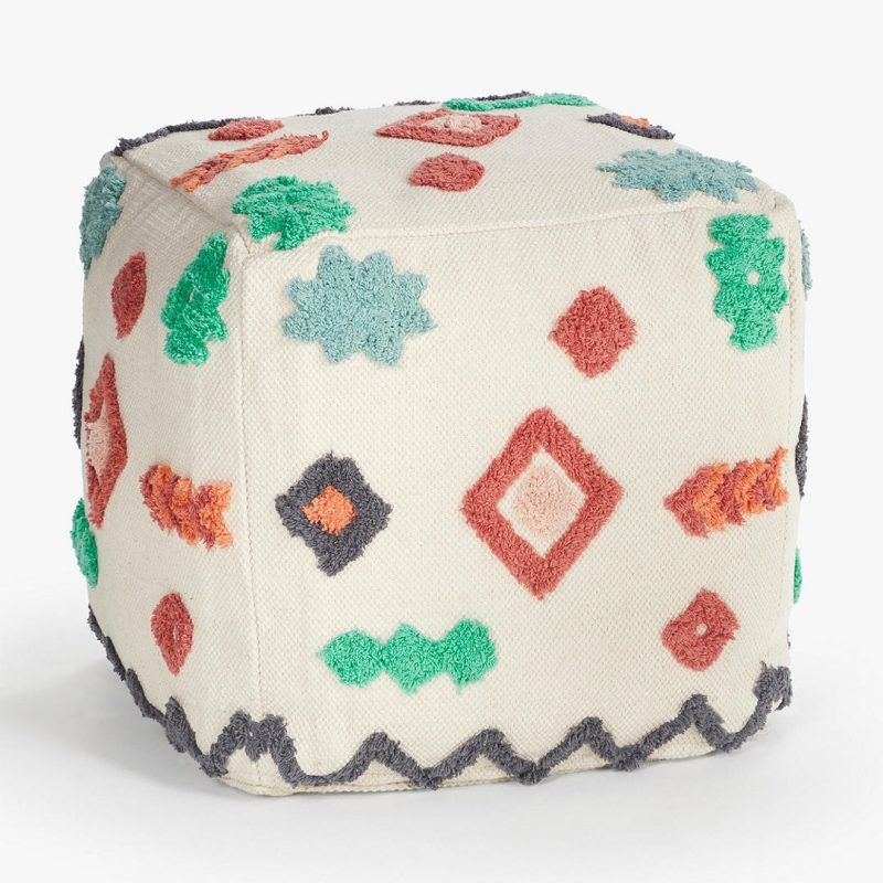 Tufted pattern pouffe