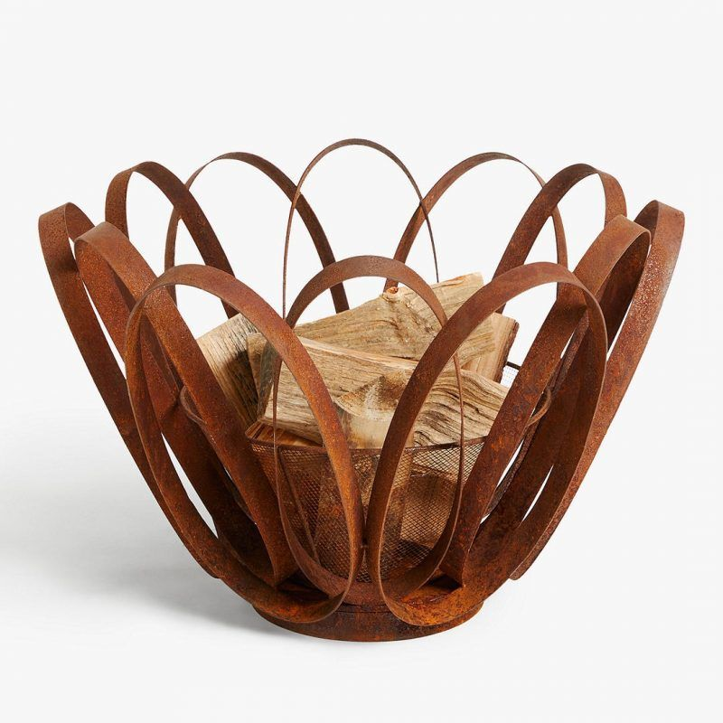 Contemporary metal fire basket
