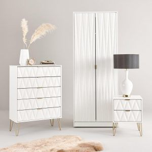 White gloss bedroom furniture with 3D pattern doors