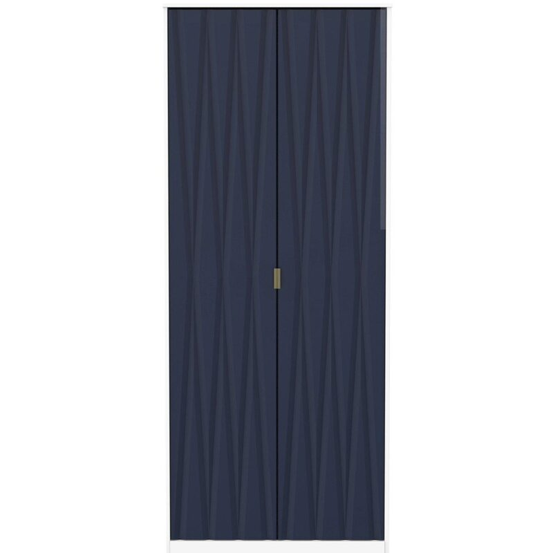 Double wardrobe with indigo coloured doors and gold handles