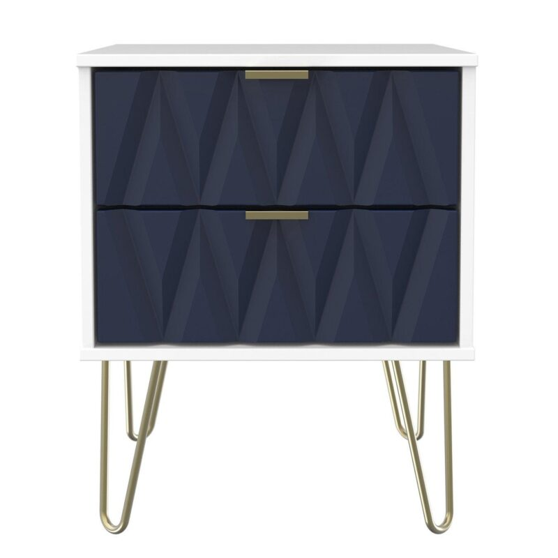 2 drawer bedside chest with Indigo fronts and gold legs