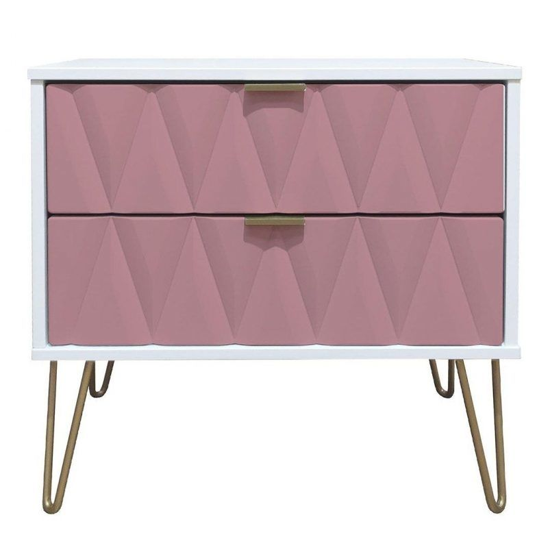 bedside cabinet with 2 pink drawers and gold hairpin legs
