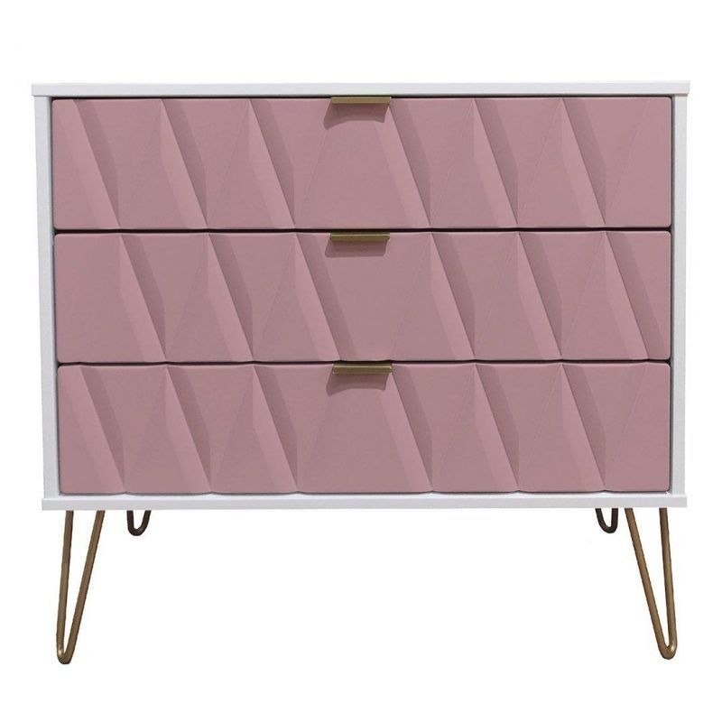 Pink & white 3-drawer chest with gold coloured handles and hairpin legs