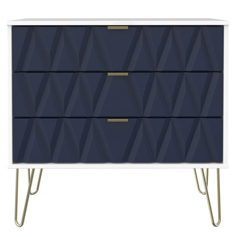 3 drawer chest with 3d fronts in indigo with gold trim