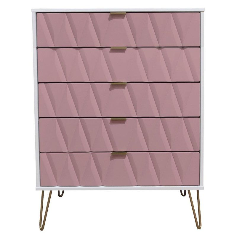 Pink & white 5-drawer chest with gold coloured handles and hairpin legs