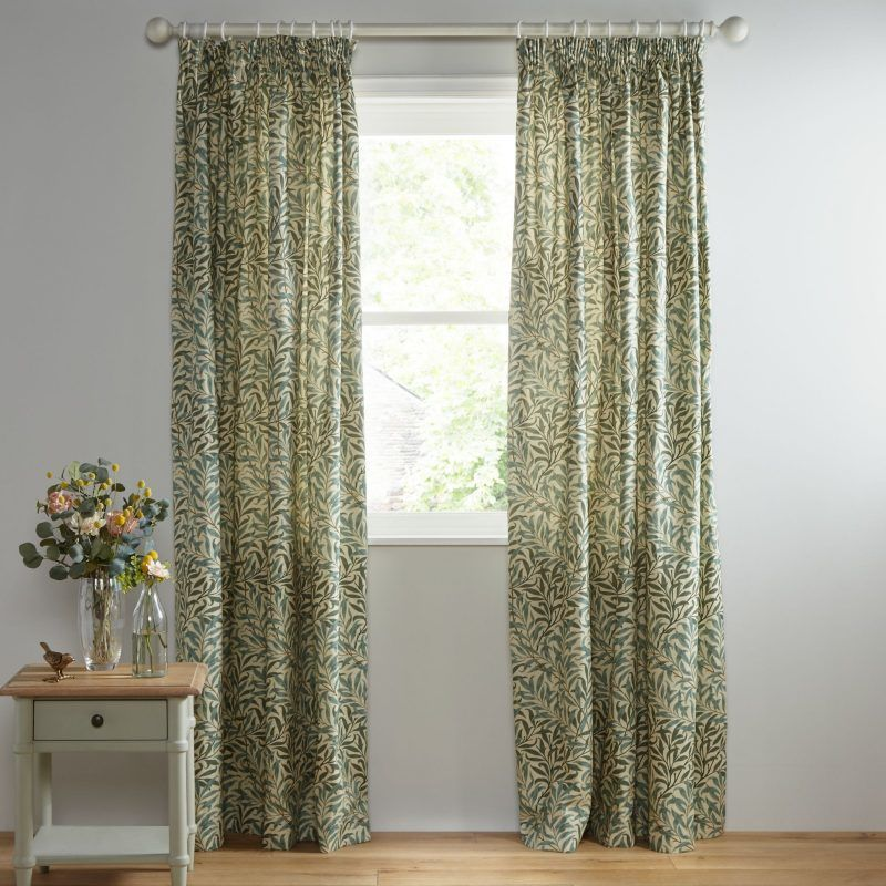 green leaf pattern curtains