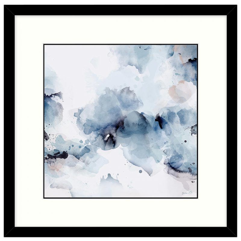Inky blue abstract print
