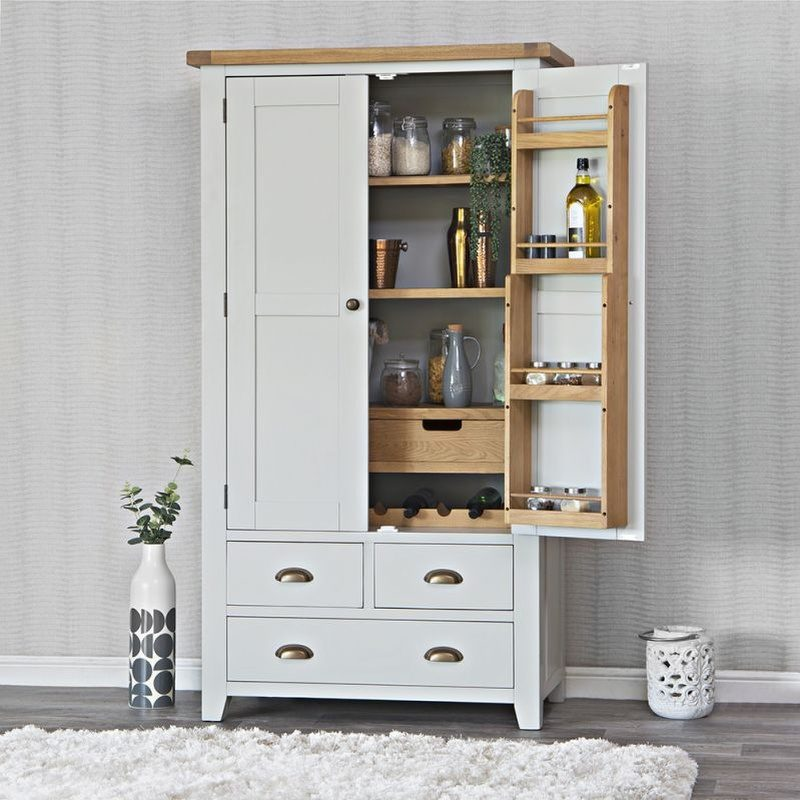 Grey painted larder with 4 drawers