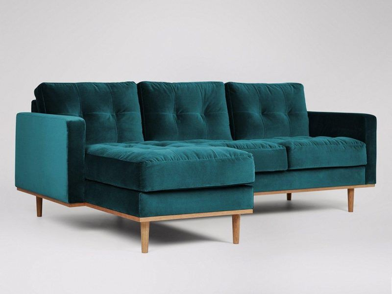 Emerald fabric chaise-end sofa