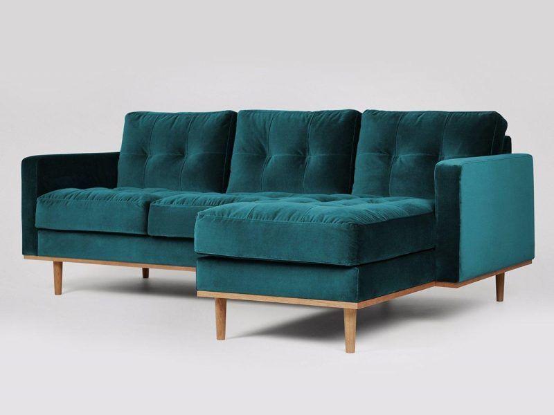 Emerald fabric chaise sofa