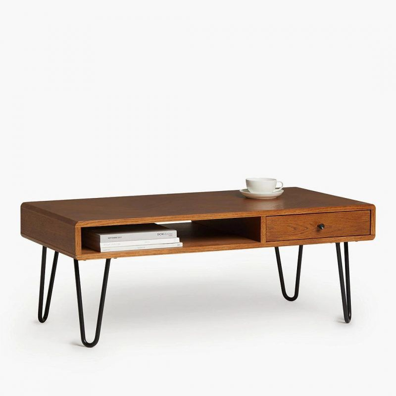 Oak coffee table with black hairpin legs