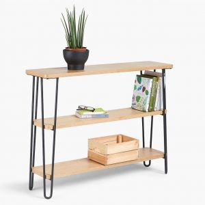 3-tier bookcase with black hairpin frame
