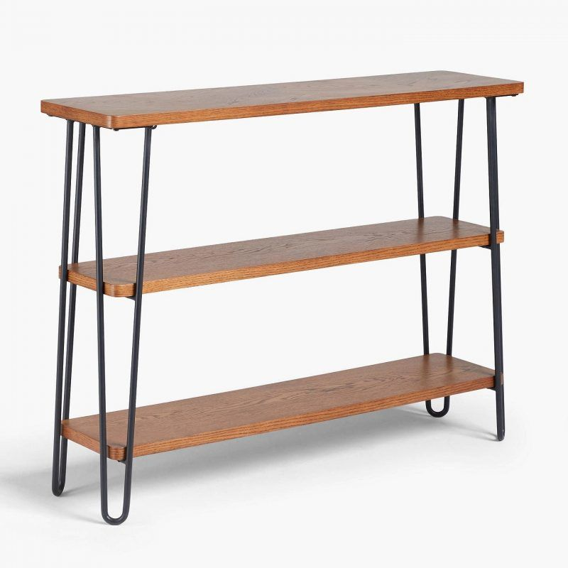3-tier smoked oak bookcase