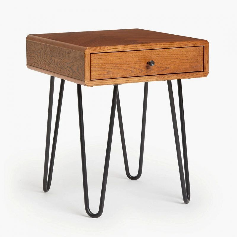 Oak side table with hairpin legs