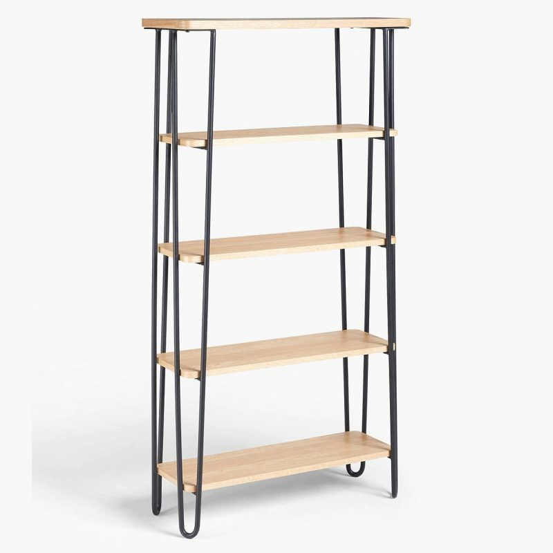 5-tier bookcase with black hairpin frame
