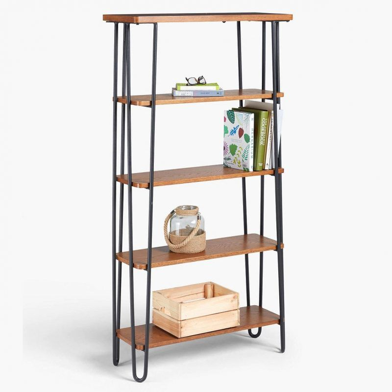 5-tier dark oak bookcase