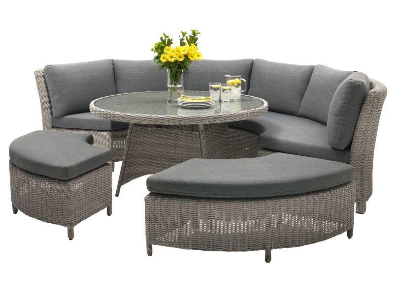 Round garden corner sofa set