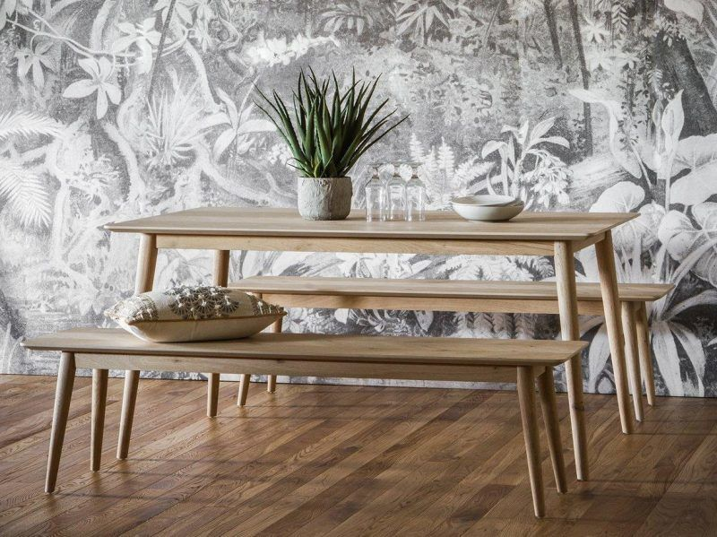Contemporary dining table with two benches
