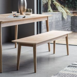 Oak dining table and bench