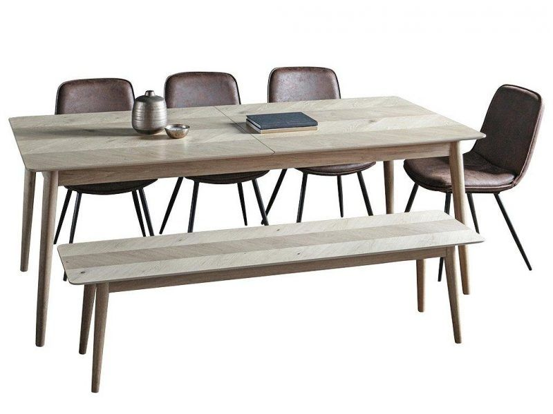 Oak dining table, 4 chairs and bench