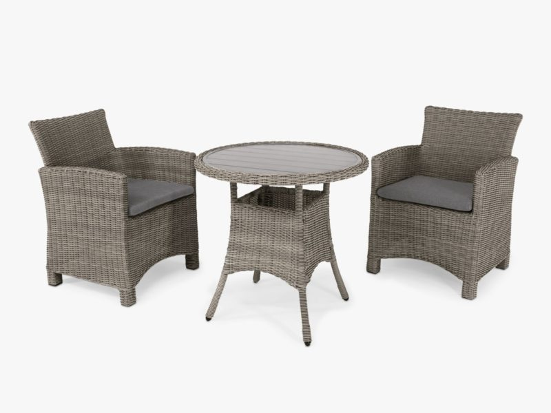 Round rattan outdoor table and 2 rattan chairs