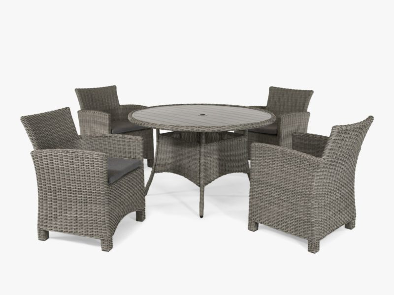 Round rattan outdoor table and 4 rattan chairs