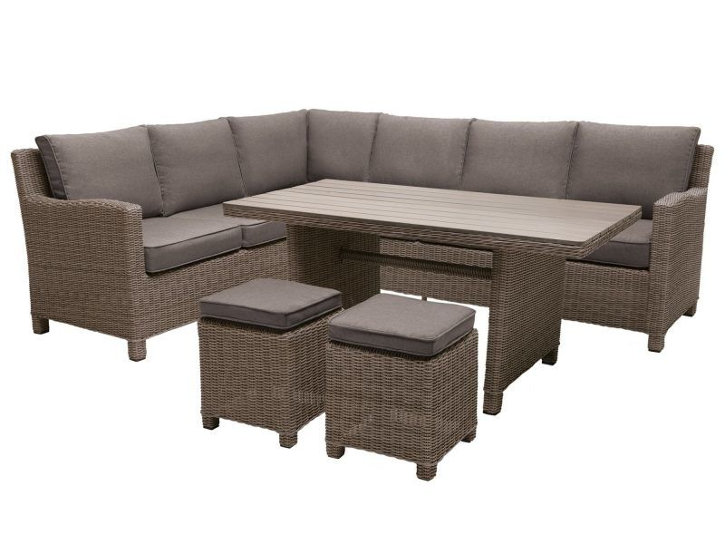 Garden corner sofa, table and stools