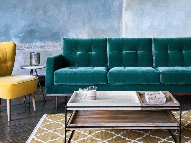 Kingfisher green fabric sofa