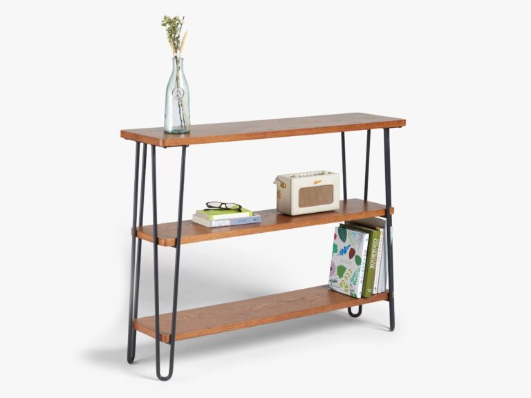 3-tier shelving unit with hairpin frame