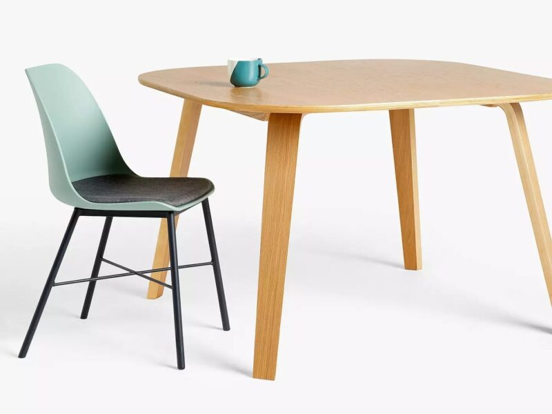Birch plywood dining table and blue chair