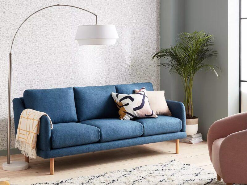 Contemporary blue fabric sofa