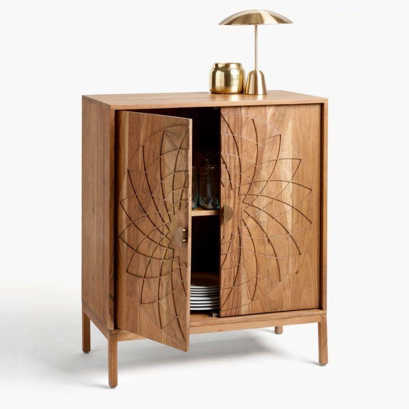Natural acacia wood cabinet