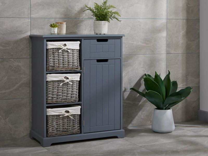 Grey-painted floor cupboard with 3 baskets