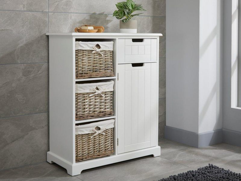 White painted floor cupboard with 3 baskets