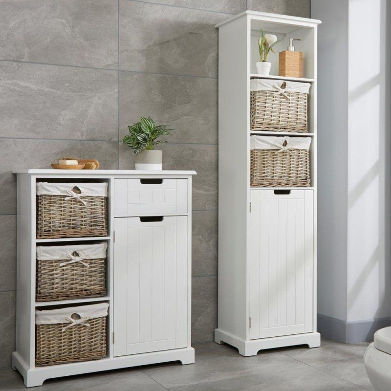 White painted tallboy and matching floor cupboard